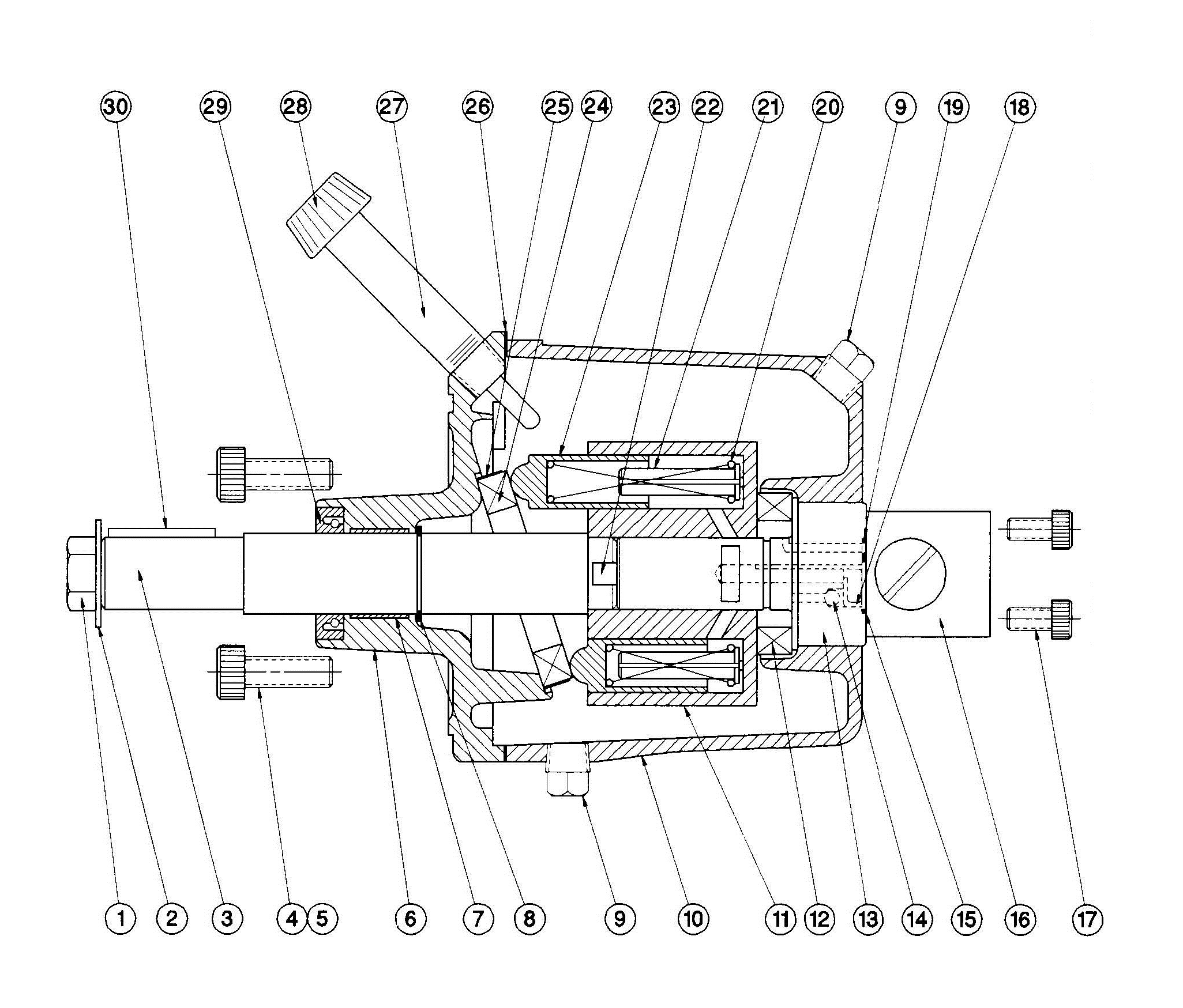 Model B1-B2 Helm Pump Assembly Diagram