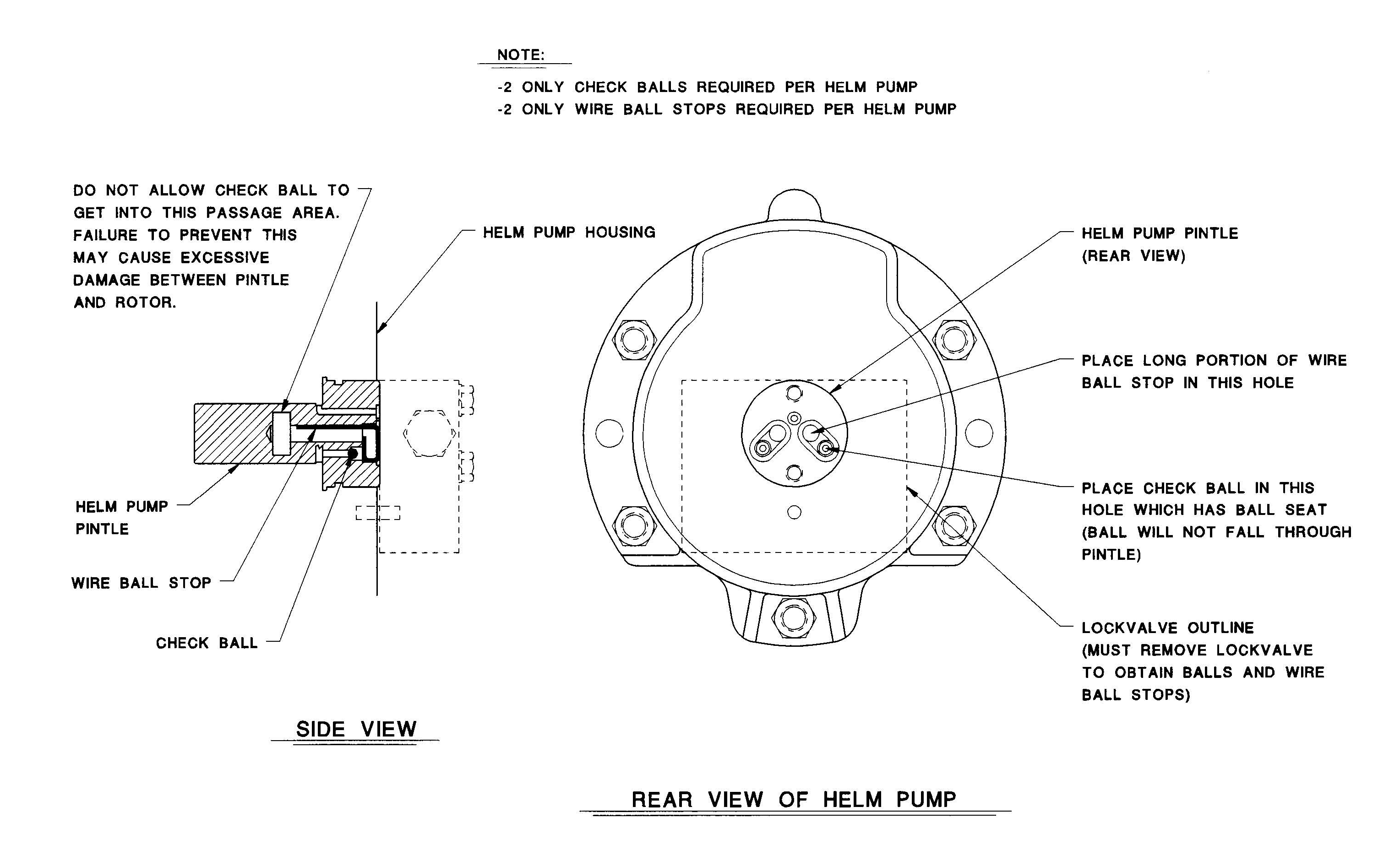 Model B1-B2 Helm Pump Check Ball Orientation Diagram