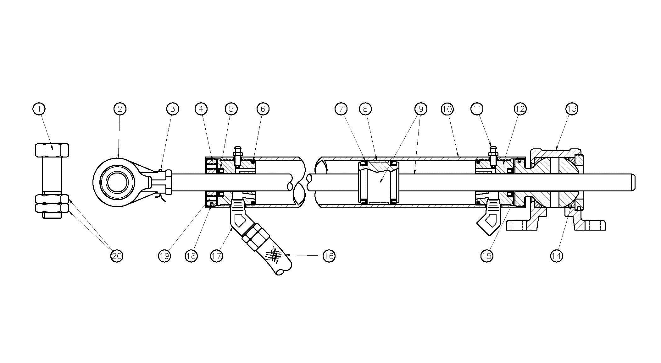 Type N40 Hydraulic Cylinder Assembly Diagram