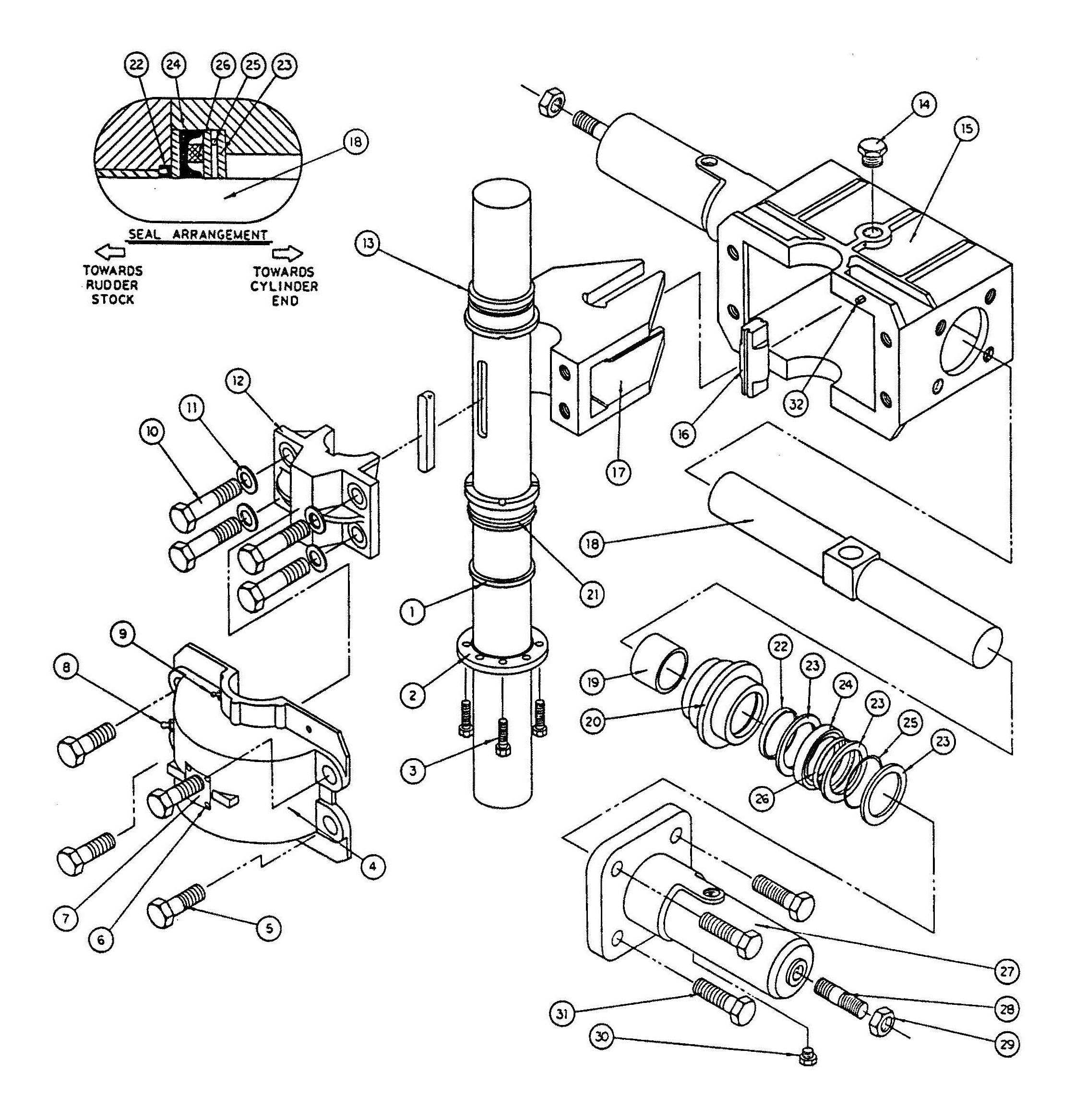 Model T14 and T15 Actuator Assembly Diagram