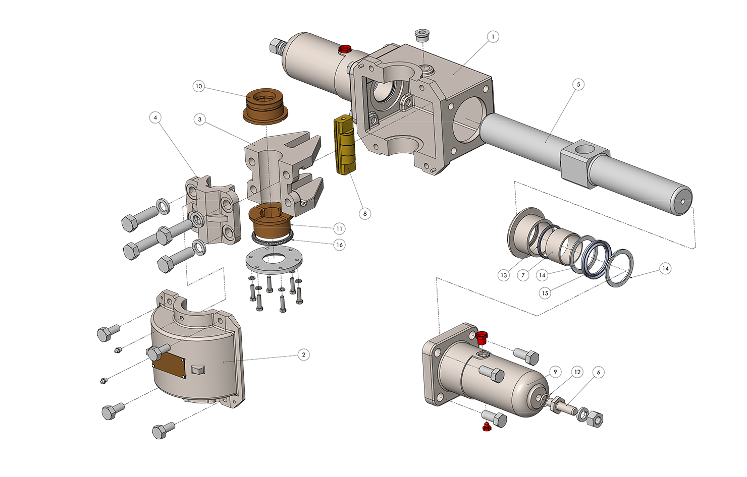 Model T5 Actuator Exploded Assembly Diagram