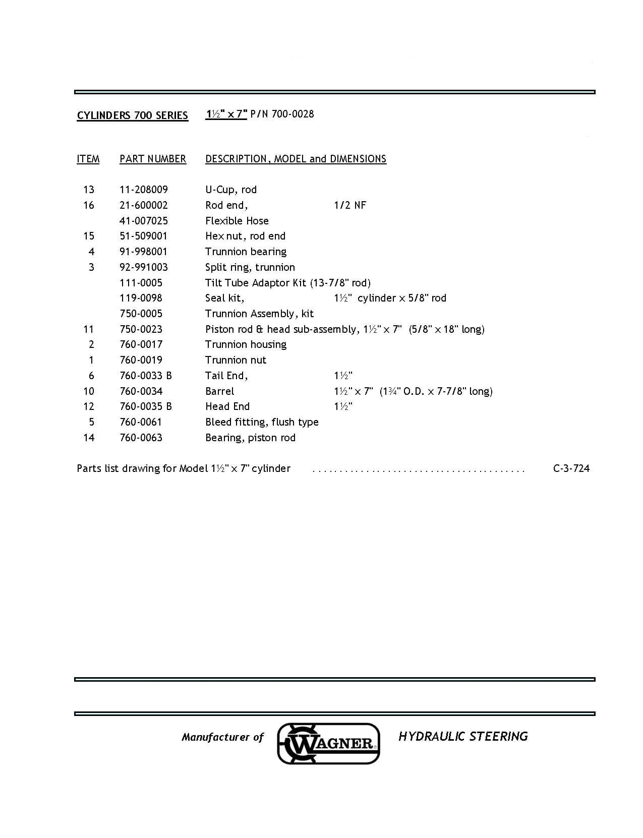 700 Series Assembly Parts List